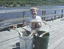 Big catch on the Clements Fishing Barge.